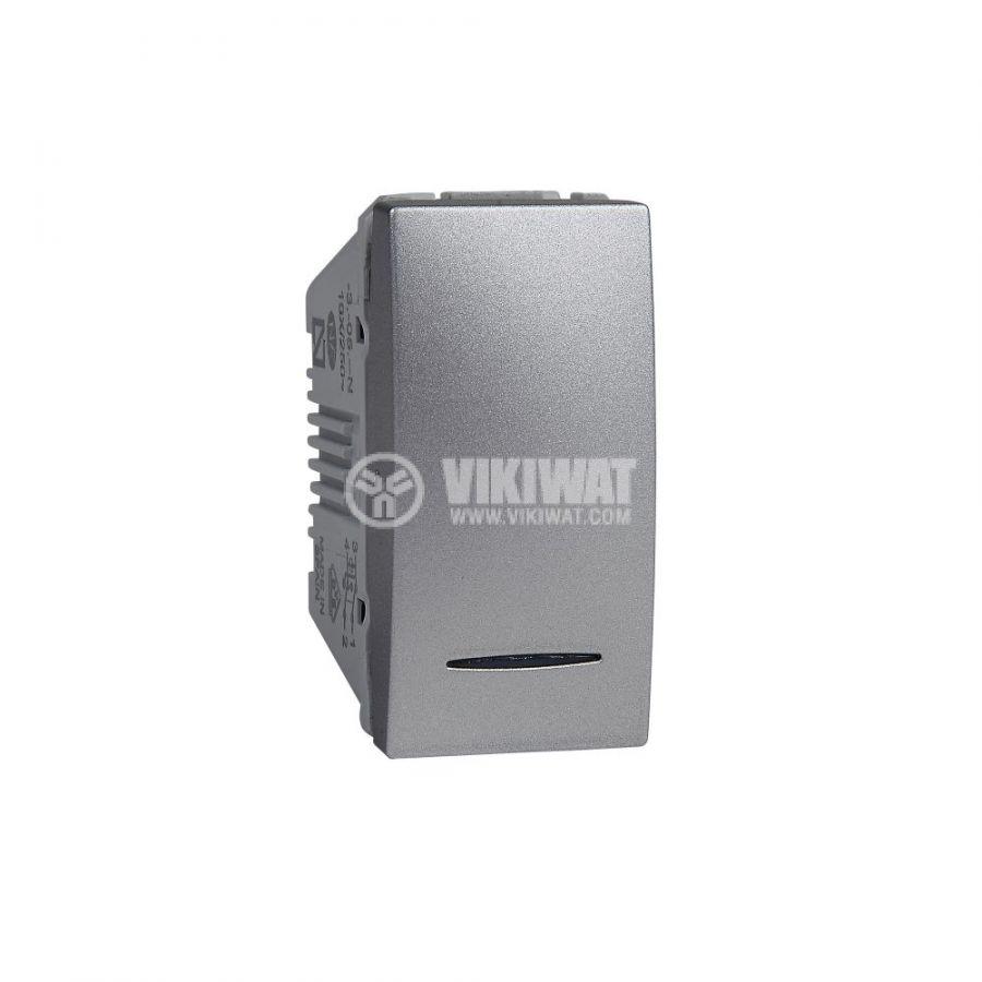 Електрически ключ сх.7 кръстат, 10A, 250VAC, за вграждане, сребрист, MGU3.105.30N