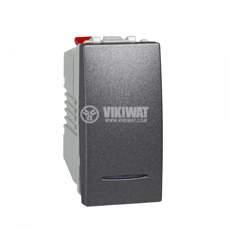 Електрически ключ лихт бутон, 10A, 250VAC, за вграждане, графит, MGU3.106.12N