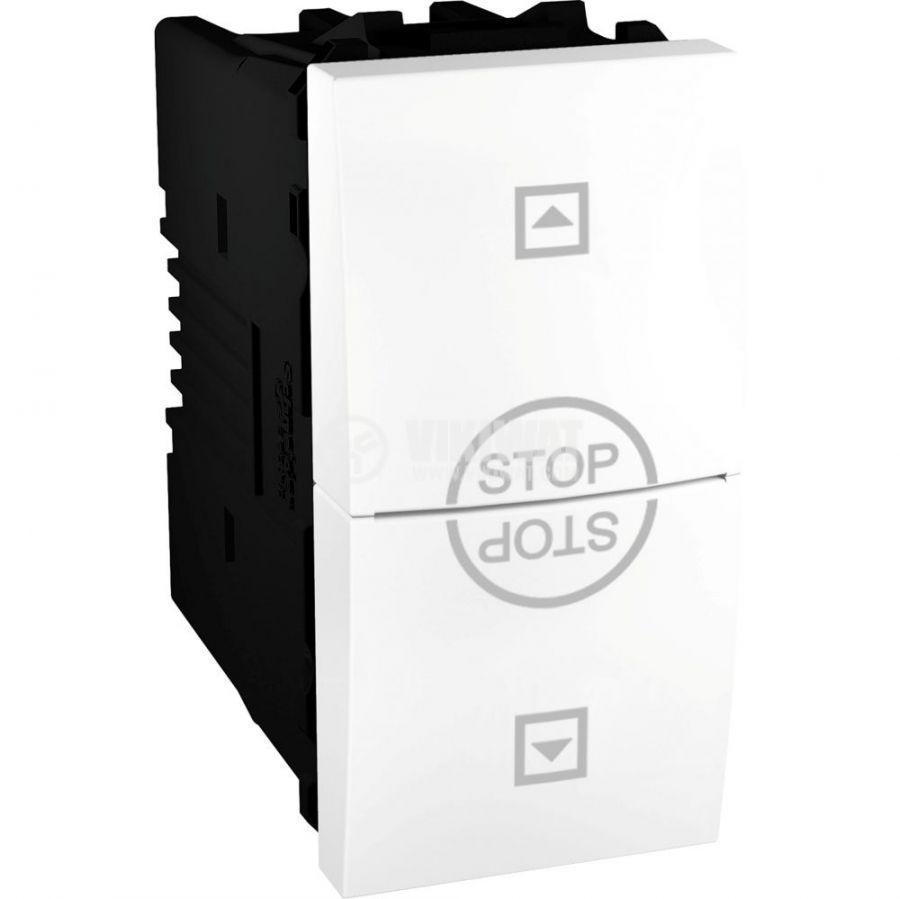 Електрически ключ бутон за ролетни щори, 10A, 250VAC, за вграждане, бял, MGU3.108T.18