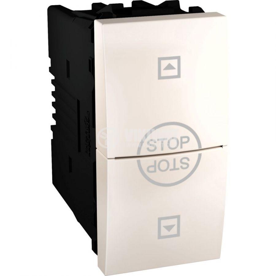 Електрически ключ бутон за ролетни щори, 10A, 250VAC, за вграждане, слонова кост, MGU3.108T.25