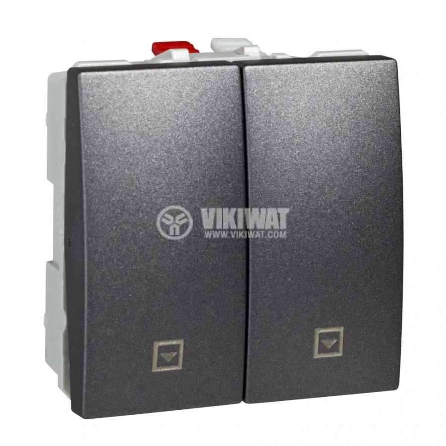 Електрически ключ бутон за ролетни щори, 10A, 250VAC, за вграждане, графит, MGU3.207.12