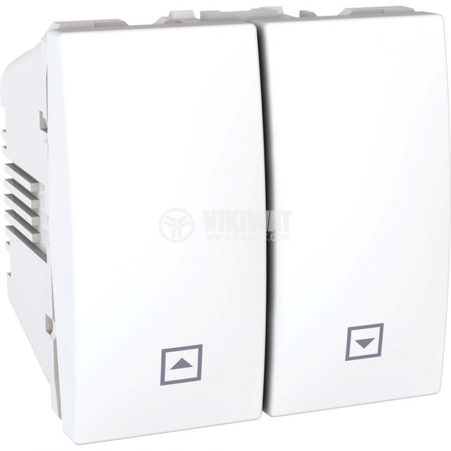Електрически ключ бутон за ролетни щори, 10A, 250VAC, за вграждане, бял, MGU3.207.18