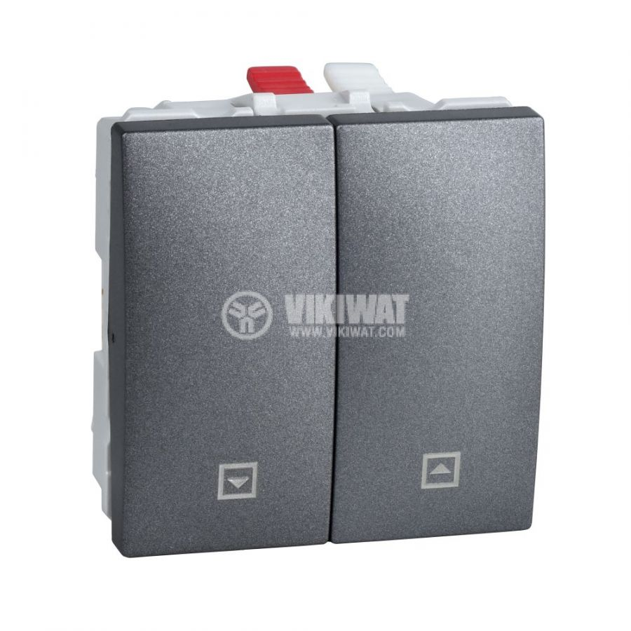 Електрически ключ бутон за ролетни щори, 10A, 250VAC, за вграждане, графит, MGU3.208.12
