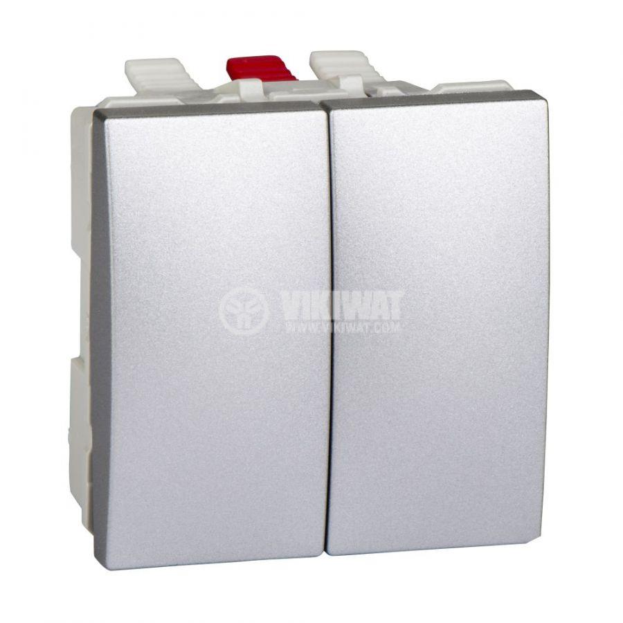 Електрически ключ сх.5 (сериен) двоен, 10A, 250VAC, за вграждане, сребрист, MGU3.211.30
