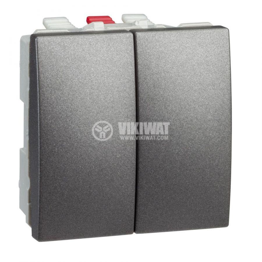 Електрически ключ сх.6 девиаторен двоен, 10A, 250VAC, за вграждане, графит, MGU3.213.12