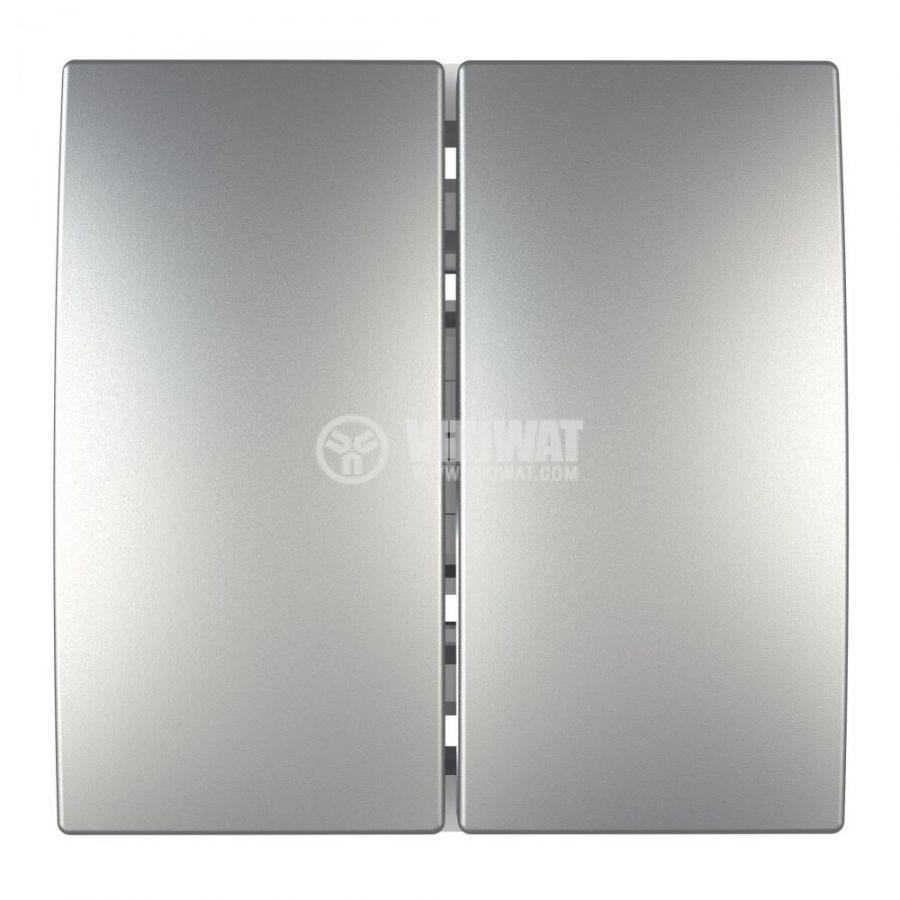 Електрически ключ сх.6 девиаторен двоен, 10A, 250VAC, за вграждане, сребрист, MGU3.213.30