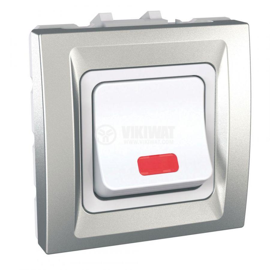 Електрически ключ сх.5 (сериен) единичен, 32A, 250VAC, за вграждане, сребрист, MGU3.232.30S