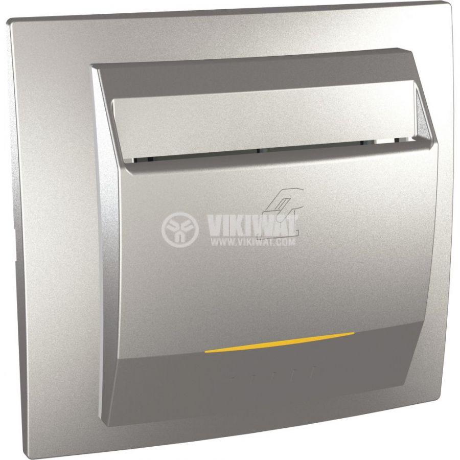 Електрически ключ за карта, 10A, 230VAC, за вграждане, сребрист, MGU3.283.30