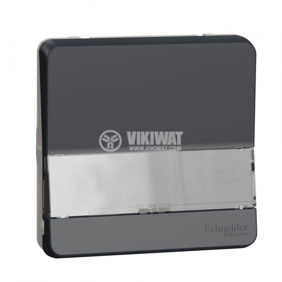 Електрически ключ лихт бутон, 10A, 230VAC, за вграждане, сив, MUR34029