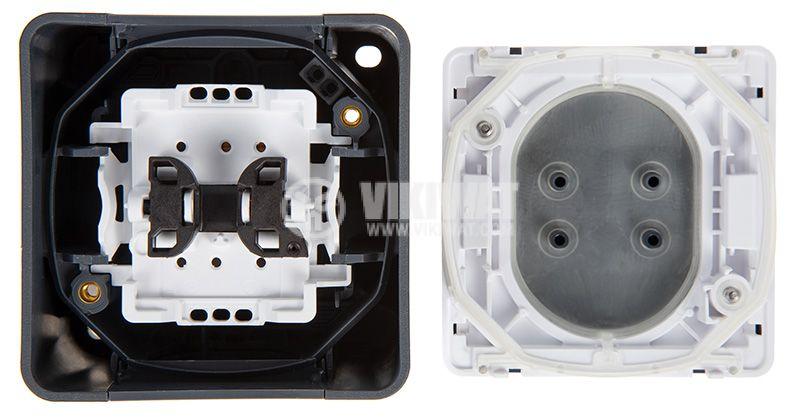 Електрически ключ лихт бутон, 10A, 230VAC, повърхностен, сив, MUR35026  - 5