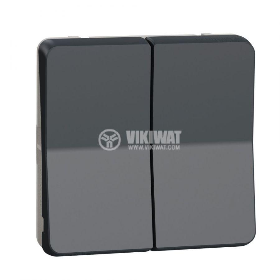 Електрически ключ бутон за ролетни щори, 10A, 230VAC, за вграждане, сив, MUR35042
