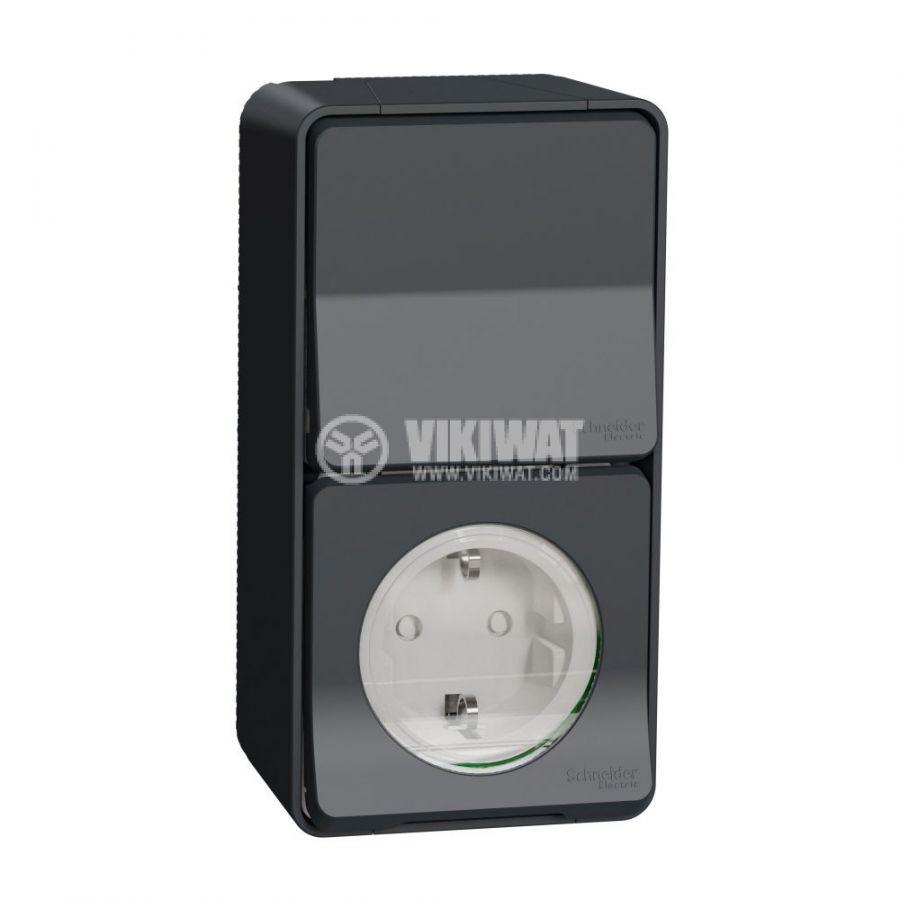 Електрически ключ сх.6 девиаторен, 10A, 250VAC, повърхностен, сив, MUR36024