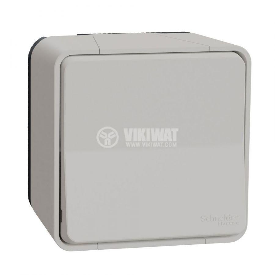 Електрически ключ лихт бутон, 10A, 230VAC, повърхностен, бял, MUR39026