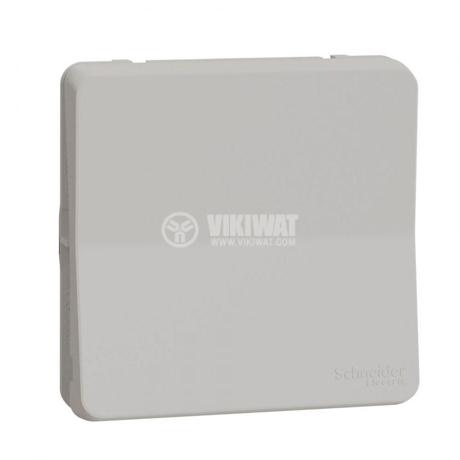 Електрически ключ лихт бутон, 10A, 230VAC, за вграждане, бял, MUR39027