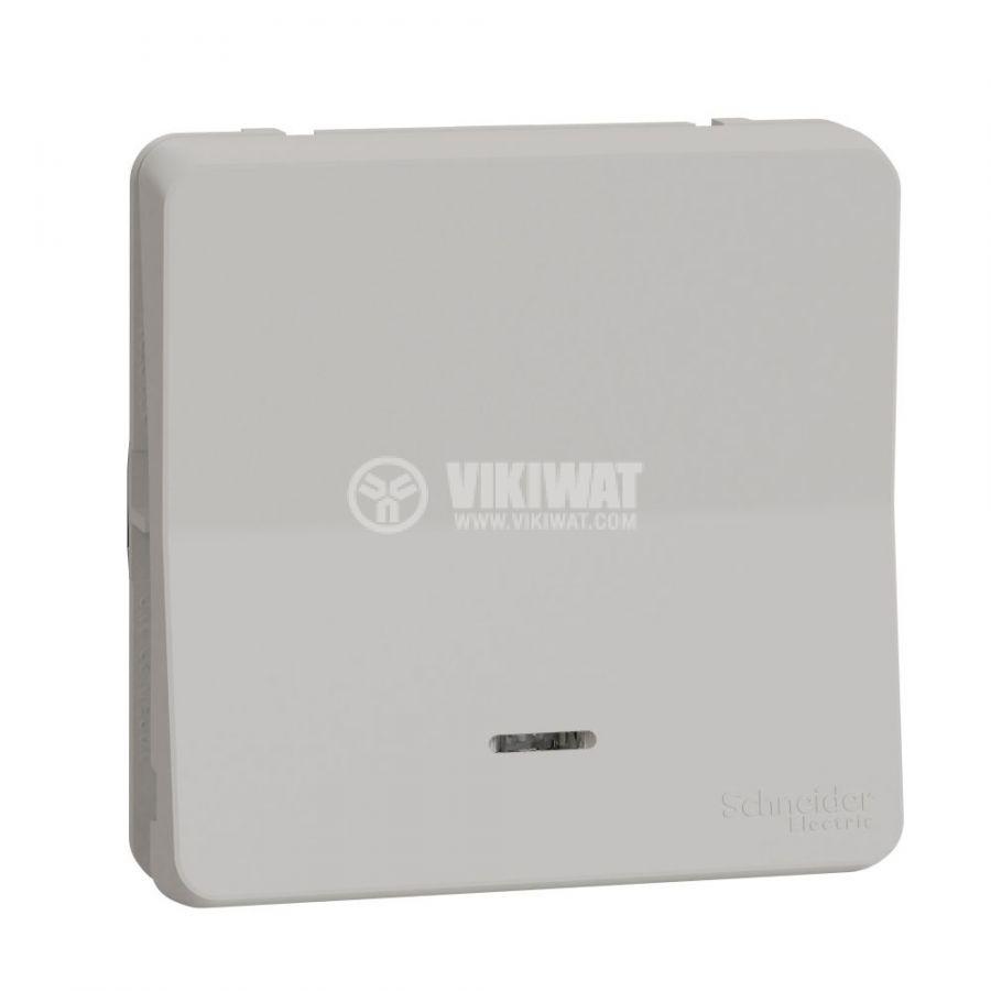 Електрически ключ лихт бутон, 10A, 230VAC, за вграждане, бял, MUR39127