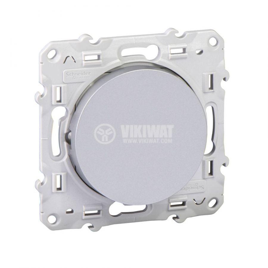 Електрически ключ сх.7 кръстат, 10A, 250VAC, за вграждане, сребрист, S530205
