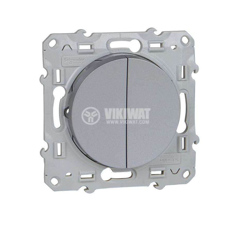 Електрически ключ сх.1 двоен, 10A, 250VAC, за вграждане, сребрист, S530211