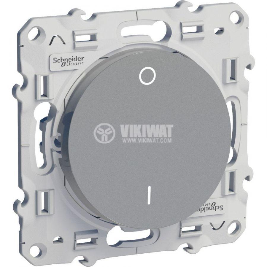 Електрически ключ сх.5 (сериен) единичен, 16A, 250VAC, за вграждане, сребрист, S530262