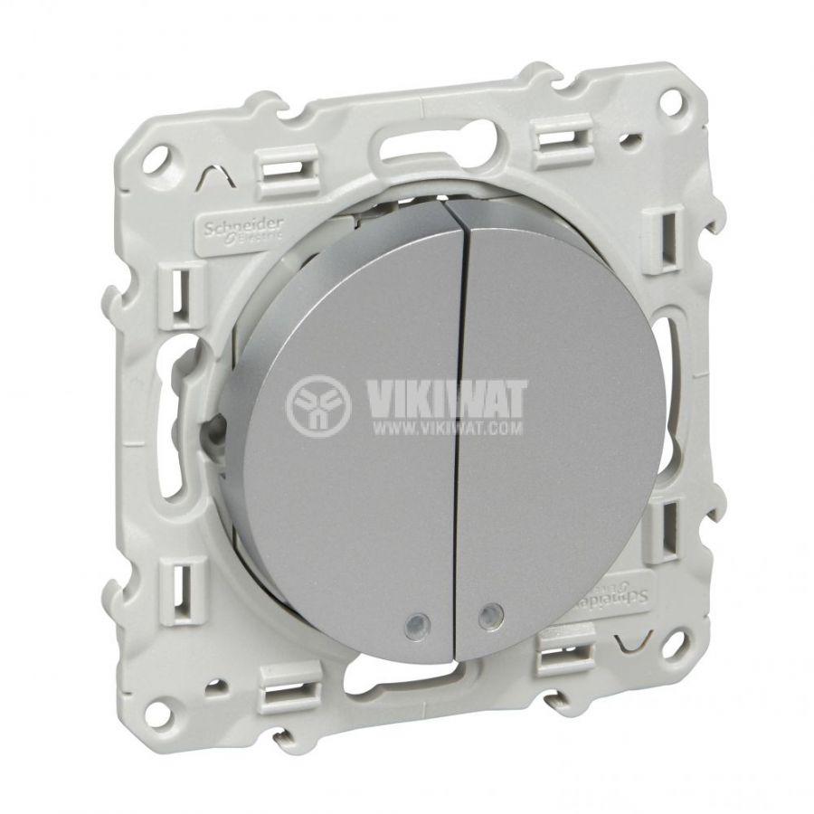 Електрически ключ лихт бутон, 10A, 250VAC, за вграждане, сребрист, S530276