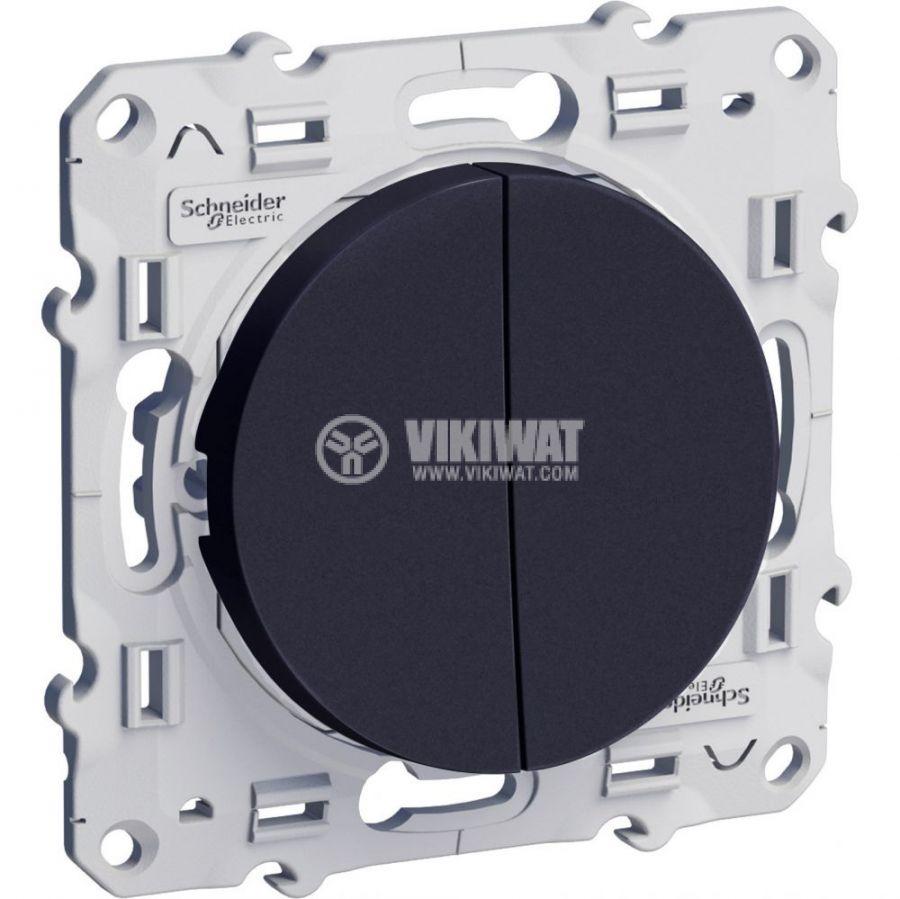 Електрически ключ лихт бутон, сх.6 девиаторен, 10A, 250, за вграждане, черен