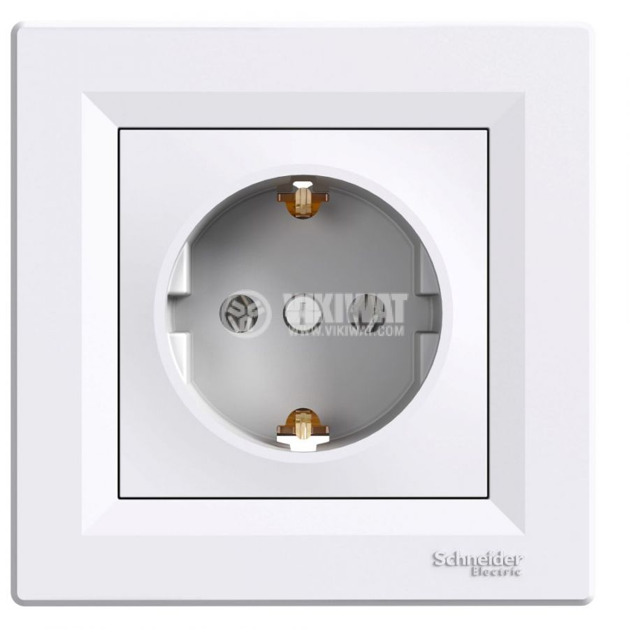 Single socket outlet, 16A, 250VAC, white, for built-in, schuko, EPH2900121