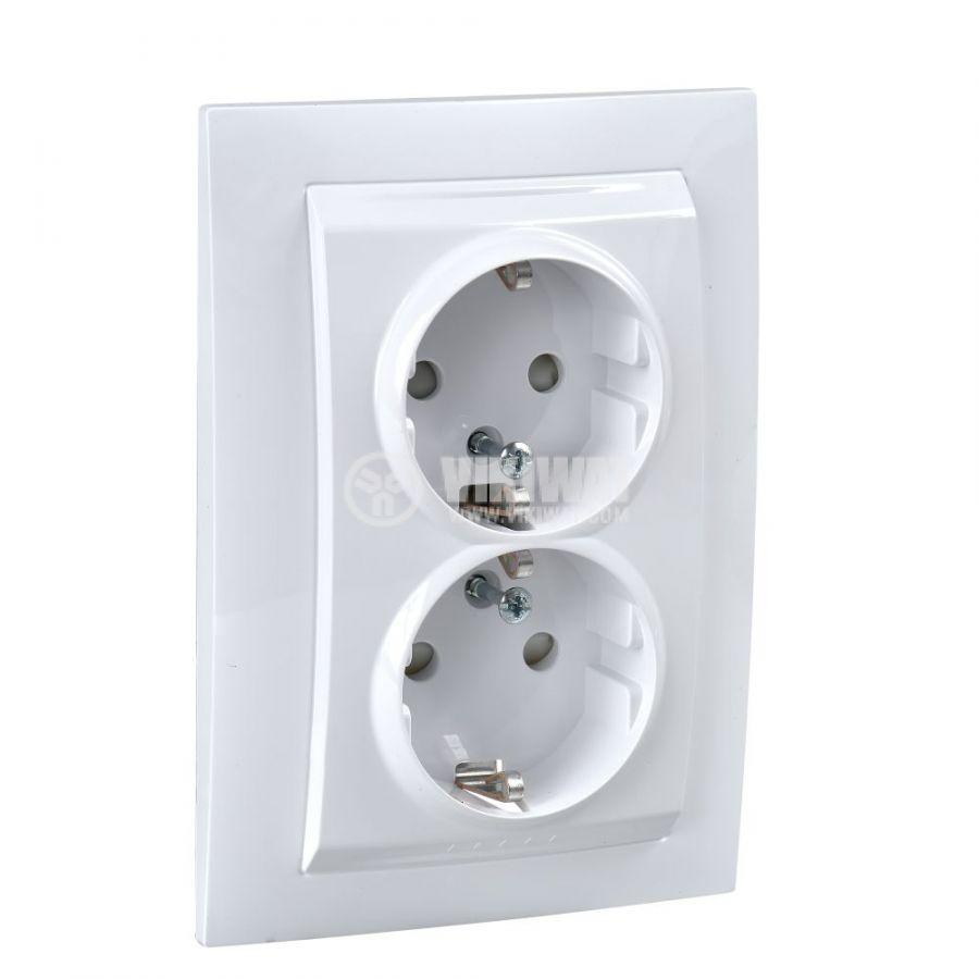 Електрически контакт, 16A, 250VAC, двоен, бял, за вграждане, шуко, MGU23.067.18D