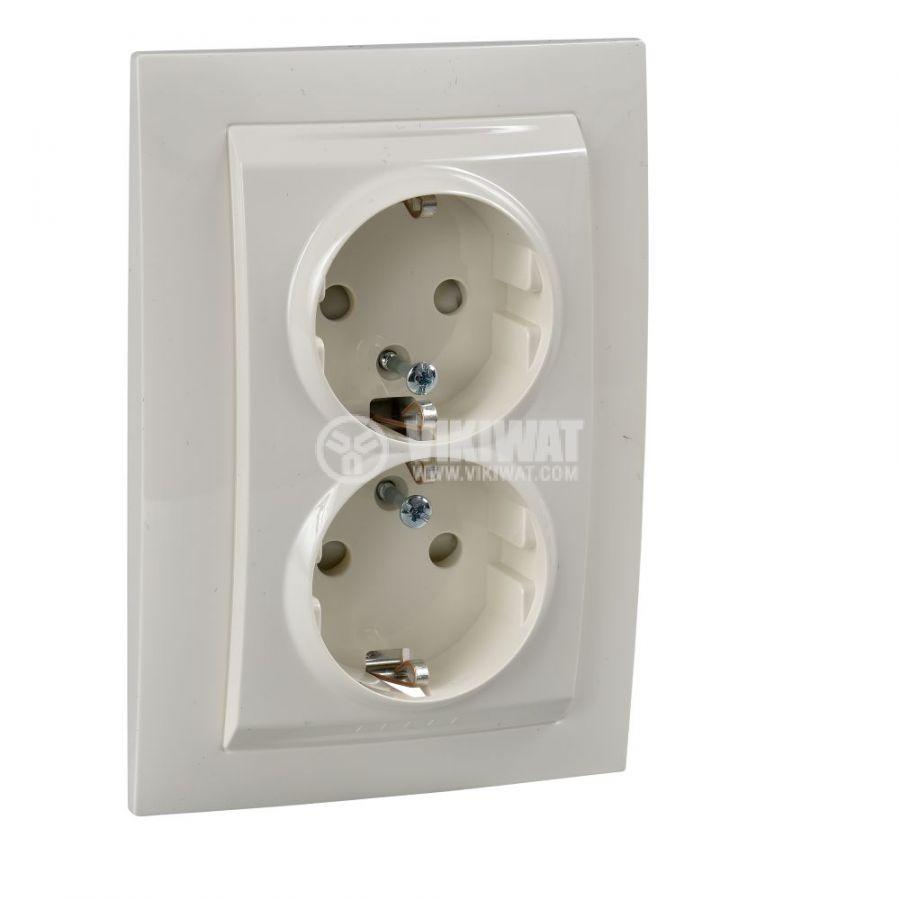 Електрически контакт, 16A, 250VAC, двоен, крем, за вграждане, шуко, MGU23.067.25D