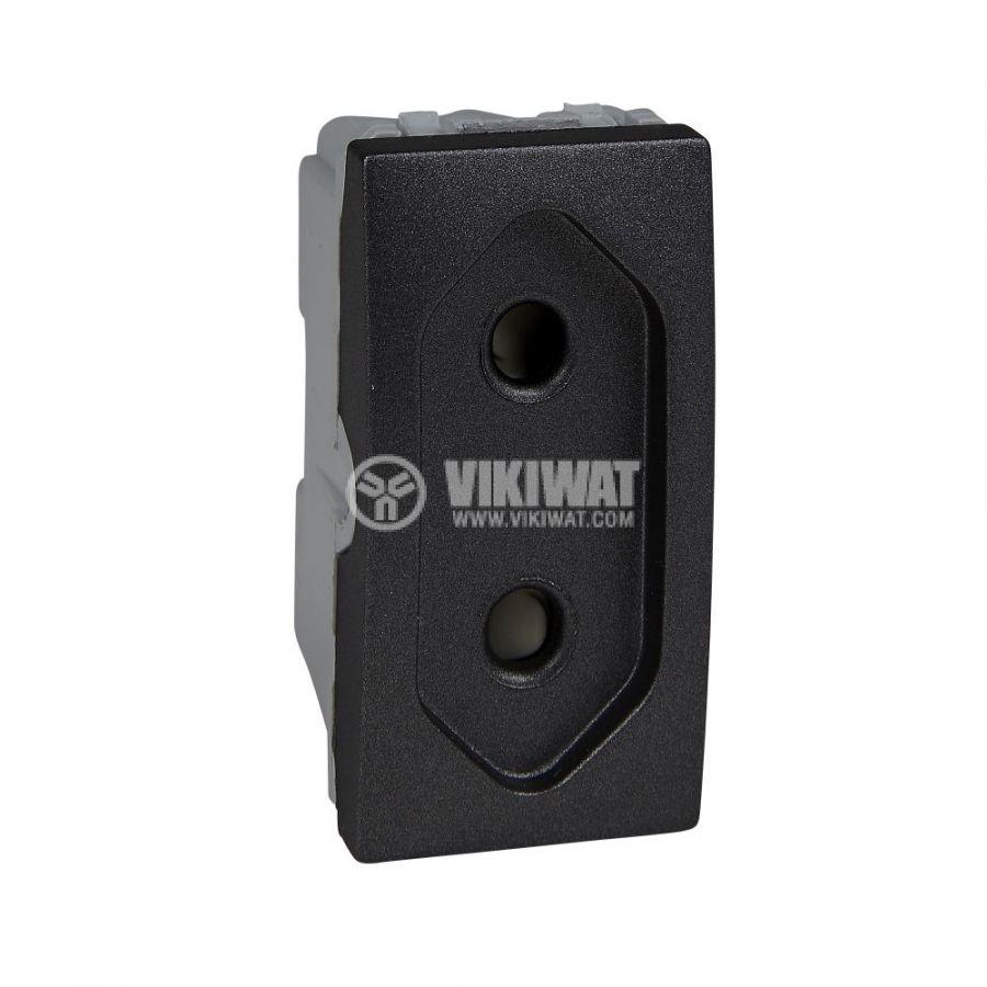 Електрически контакт, 10A, 250VAC, единичен, графит, за вграждане, еврощепсел, MGU3.031.12