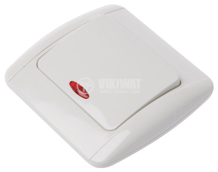 Single Electric Switch 250 VAC, 16A, LEXA M-R2K2D, deviatore, white - 1