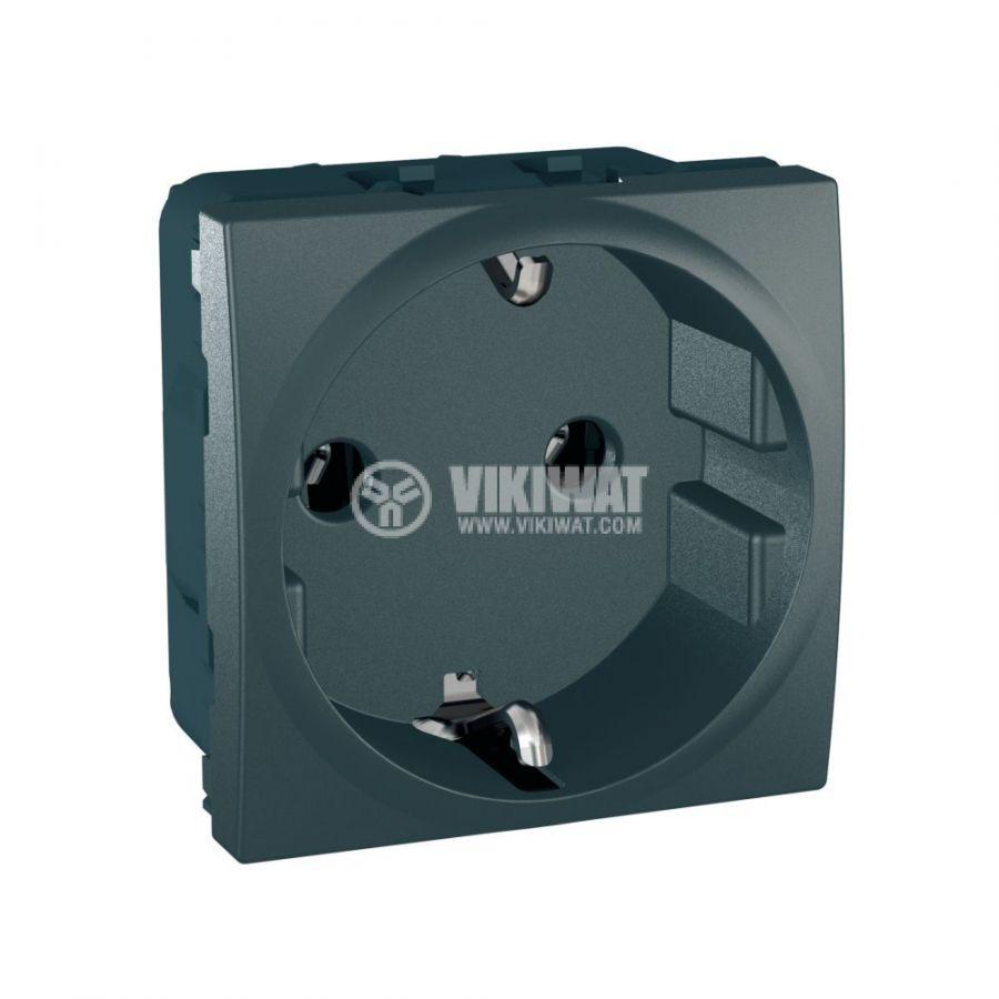 Електрически контакт, 16A, 250VAC, единичен, графит, за вграждане, шуко, MGU3.036.12