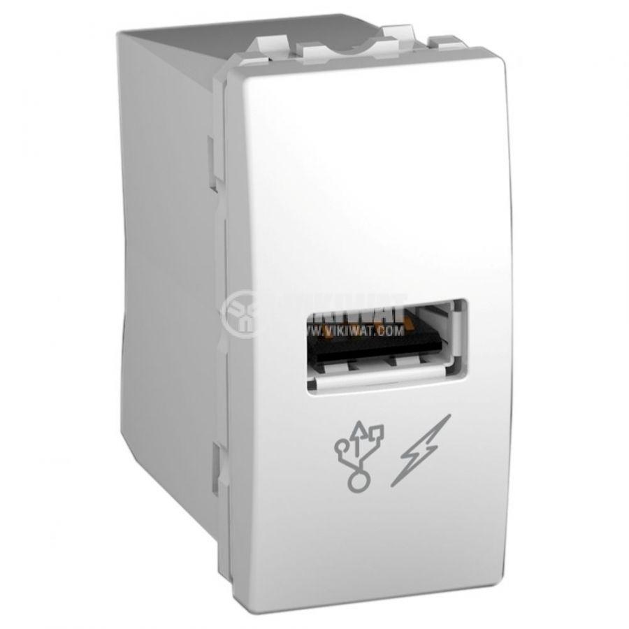 Електрически контакт, 1A, 250VAC, единичен, бял, за вграждане, USB 2.0, MGU3.428.18