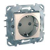 Електрически контакт, 16A, 250VAC, единичен, слонова кост, за вграждане, шуко, MGU50.036.25Z