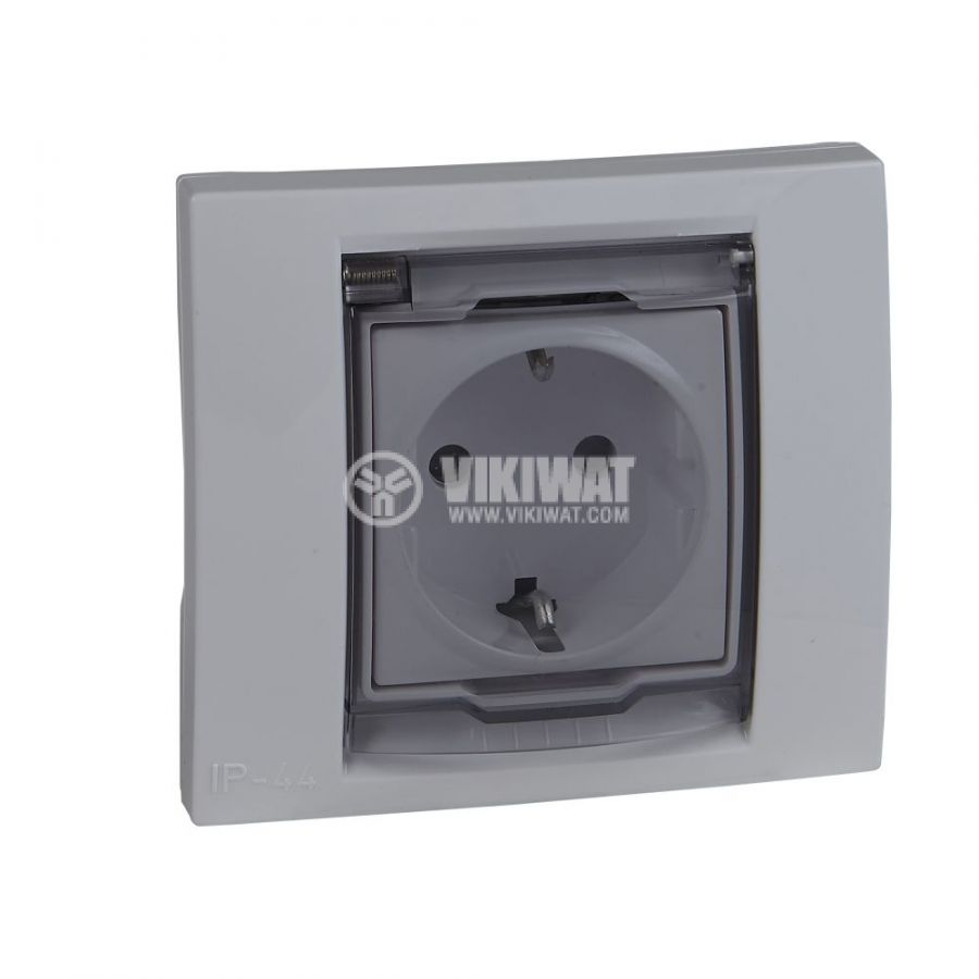 Електрически контакт, 16A, 250VAC, единичен, бял, за вграждане, шуко, MGU61.037.18