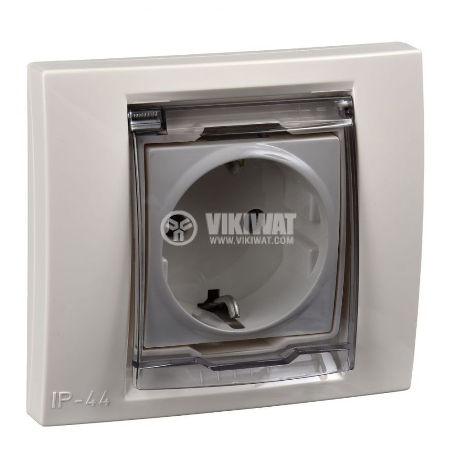 Електрически контакт, 16A, 250VAC, единичен, крем, за вграждане, шуко, MGU61.037.25