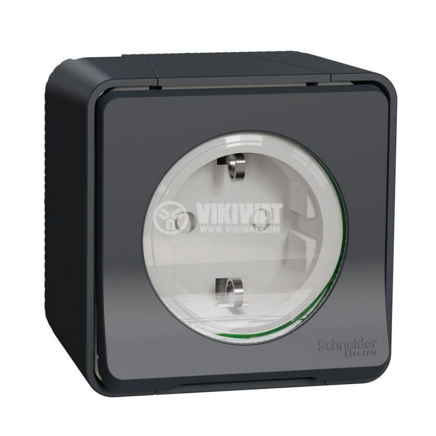 Електрически контакт, 16A, 250VAC, единичен, сив, повърхностен, шуко, MUR36034 - 1