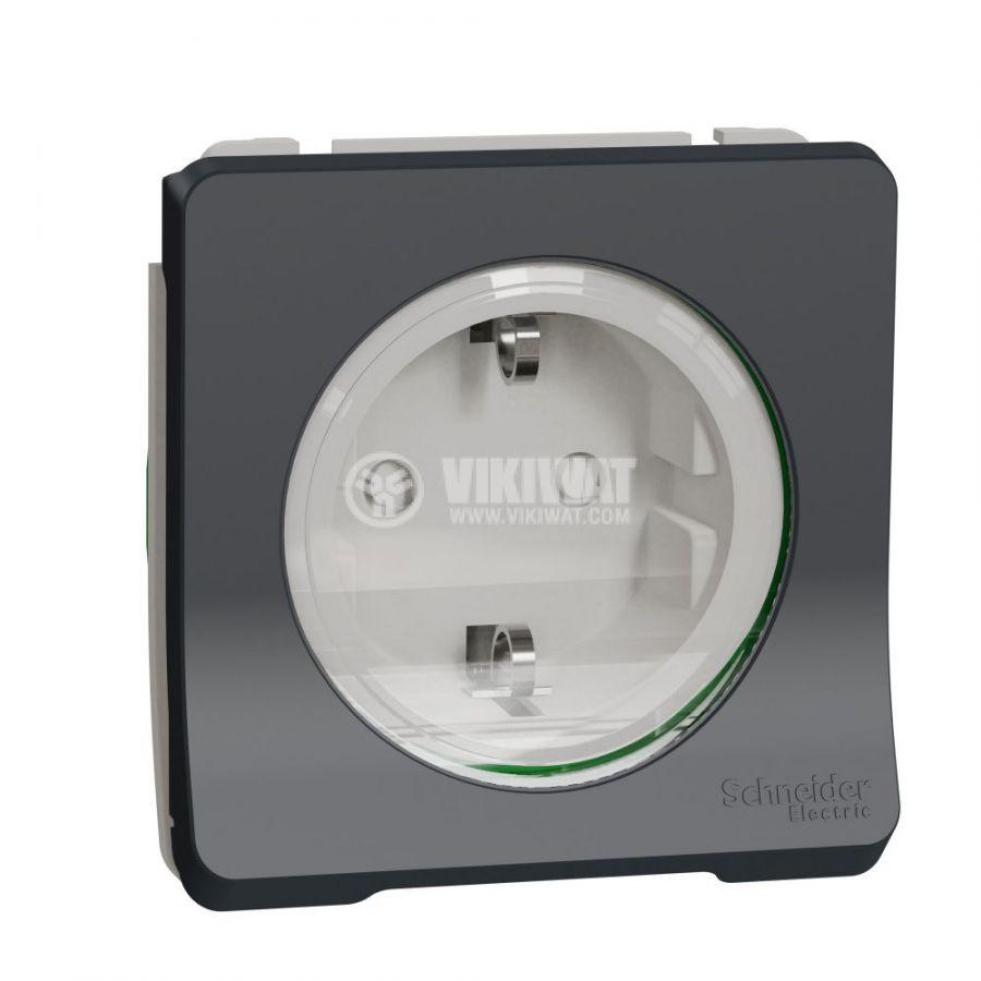Електрически контакт, 16A, 250VAC, единичен, сив, за вграждане, шуко, MUR36134