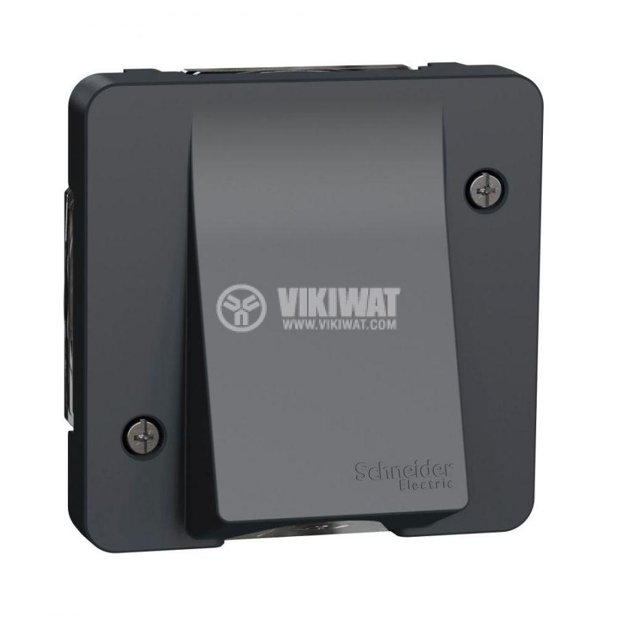 Електрически контакт, 16A, 250VAC, единичен, тъмно сив, повърхностен, твърда връзка, MUR37931