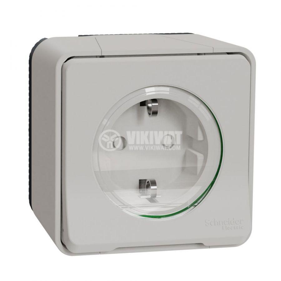 Електрически контакт, 16A, 250VAC, единичен, бял, повърхностен, шуко, MUR39034