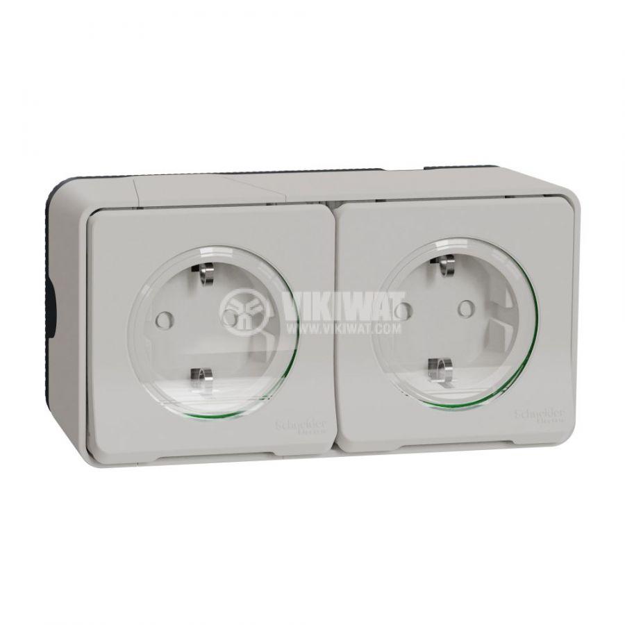 Електрически контакт, 16A, 250VAC, двоен, бял, повърхностен, шуко, MUR39035