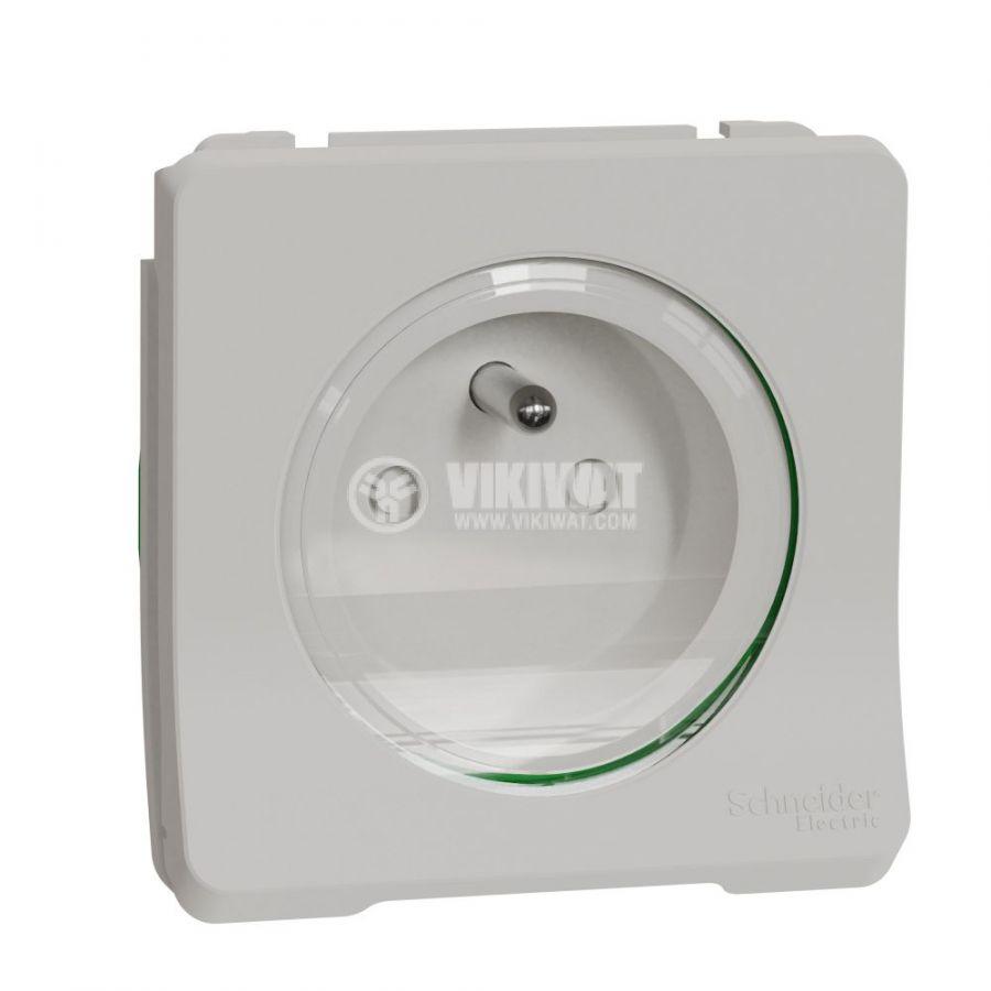 Електрически контакт, 16A, 250VAC, единичен, бял, за вграждане, френско шуко, MUR39133