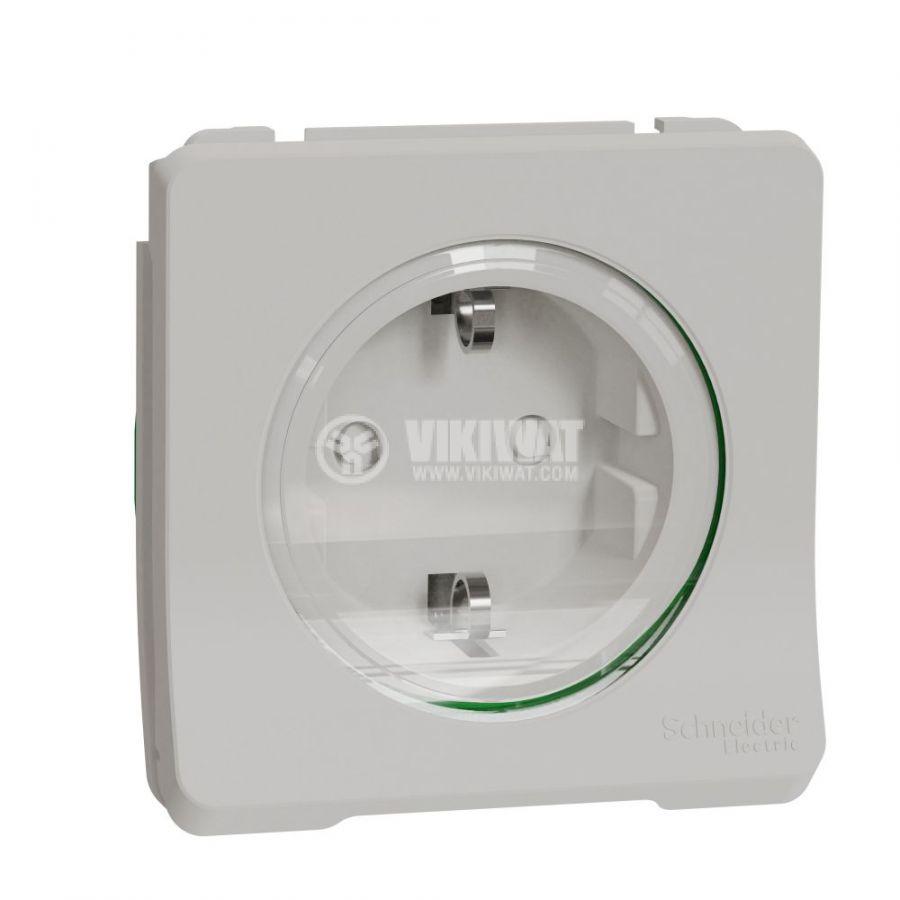 Електрически контакт, 16A, 250VAC, единичен, бял, за вграждане, шуко, MUR39134