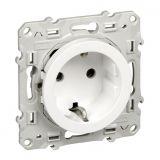 Електрически контакт, 16A, 250VAC, единичен, бял, за вграждане, шуко, S520037