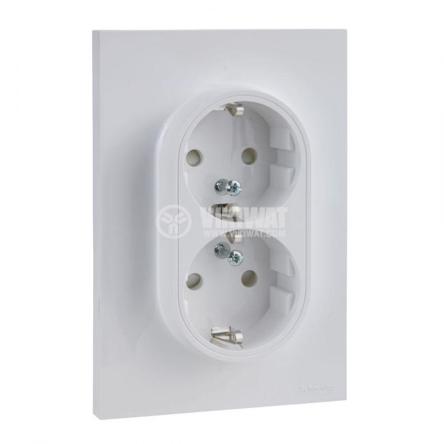 Електрически контакт, 16A, 250VAC, двоен, бял, за вграждане, шуко, S521087