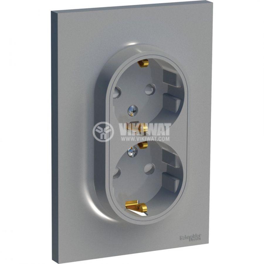 Електрически контакт, 16A, 250VAC, двоен, сребрист, за вграждане, шуко, S521087E