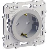 Single socket outlet, 16A, 250VAC, silver, for built-in, schuko, S530037