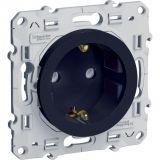 Електрически контакт, 16A, 250VAC, единичен, сребрист, за вграждане, шуко, S540057