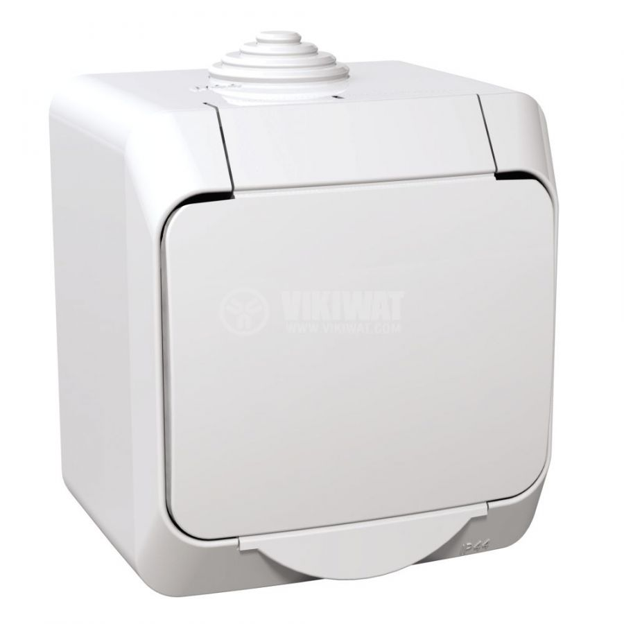 Електрически контакт, 16A, 250VAC, единичен, бял, повърхностен, шуко, WDE000541