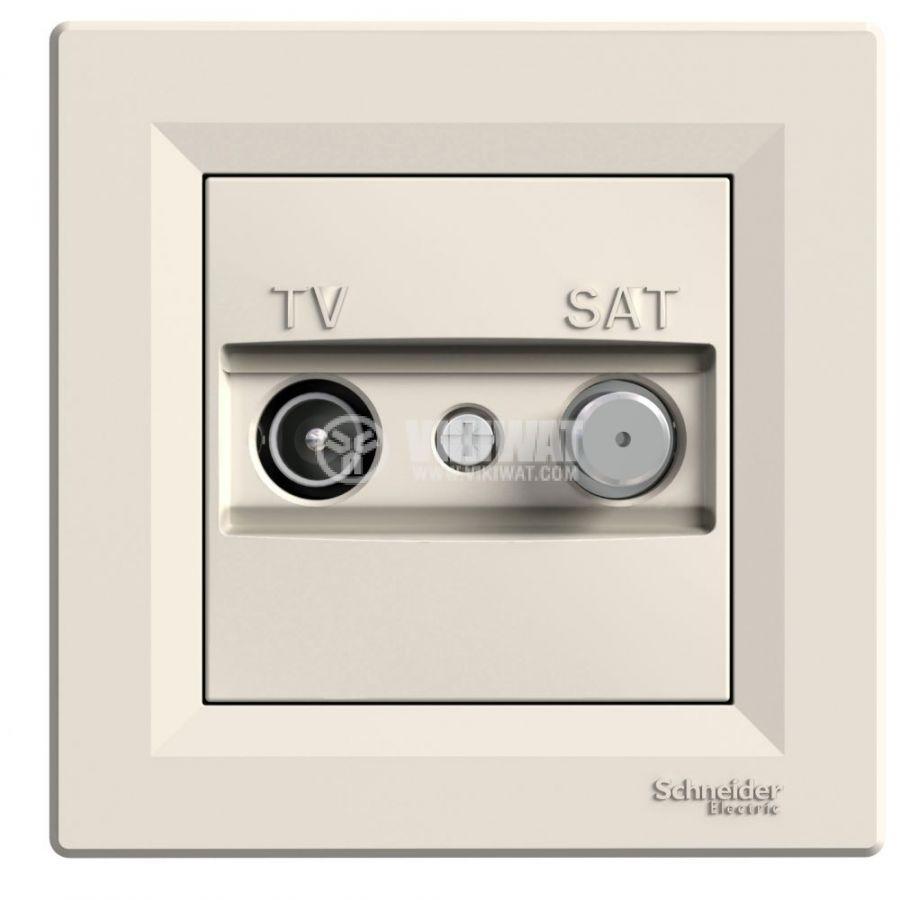Розетка двойна, F конектор, TV, за вграждане, цвят крем, EPH3400123
