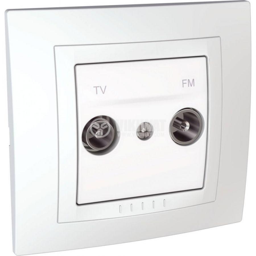 Розетка двойна, TV, радио, за вграждане, цвят бял, MGU10.451.18D