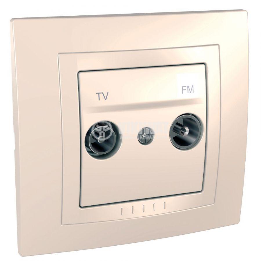 Розетка двойна, TV, радио, за вграждане, цвят слонова кост, MGU10.451.25D